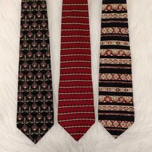 Lot of 3 Mens 100% Silk Ties